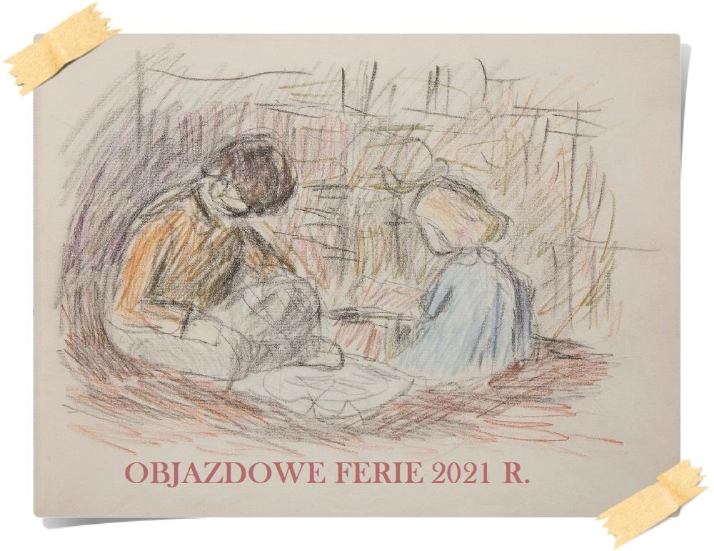 Plakat Objazdowe Ferie z rysunkiem Tadeusza Potworowskiego pt. Dzieci