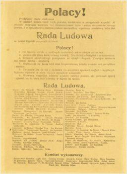 Skan odezwy do polaków o tym, że Rada Ludowa na powiat kępiński rozpoczęła działanie u dołu spis nazwisk członków rady.