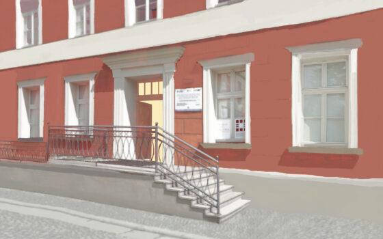 Namalowany budynek muzeum na pierwszym planie schody i drzwi wejściowe