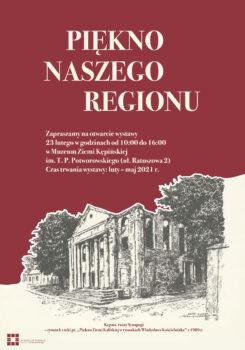 Plakat podzielony na dwie częsci u góry napis piękno naszego regionu w dolnej części rysunek synagogi w lewym rogu logo muzeum
