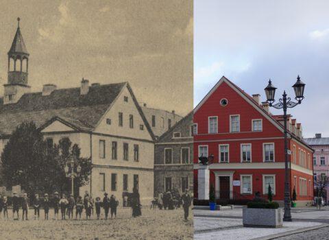 Widok Kępna z dwóch perspektyw. Z jednej strony współczesny budynek Muzeum oraz z drugiej strony powrót do przeszłości, czyli obraz dawnego kępińskiego rynku.