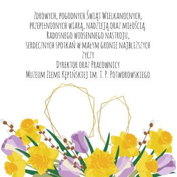 Kartka okolicznościowa u dołu kwiatki na środku tekst z życzeniami