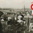 Widok Kępna zz góry w prawym roku kokarda narodowa i napis maj 2021