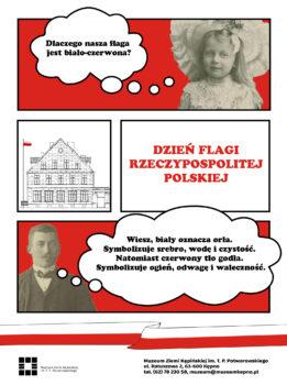 Ilustracja komiksowa u góry dziewczynka pytająca Dlaczego nasza flaga jest biało-czerwona? Na środku napis czerwony Dzień Flagi Rzeczypospolitej Polskiej i na dole po lewej stronie mężczyzna który odpowiada Wiesz, biały oznacza orła, a czerwony tło.