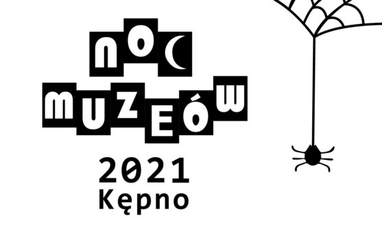 Napis noc muzeów 2021 Kępno po prawej stronie pająk zwisający na pajęczynie