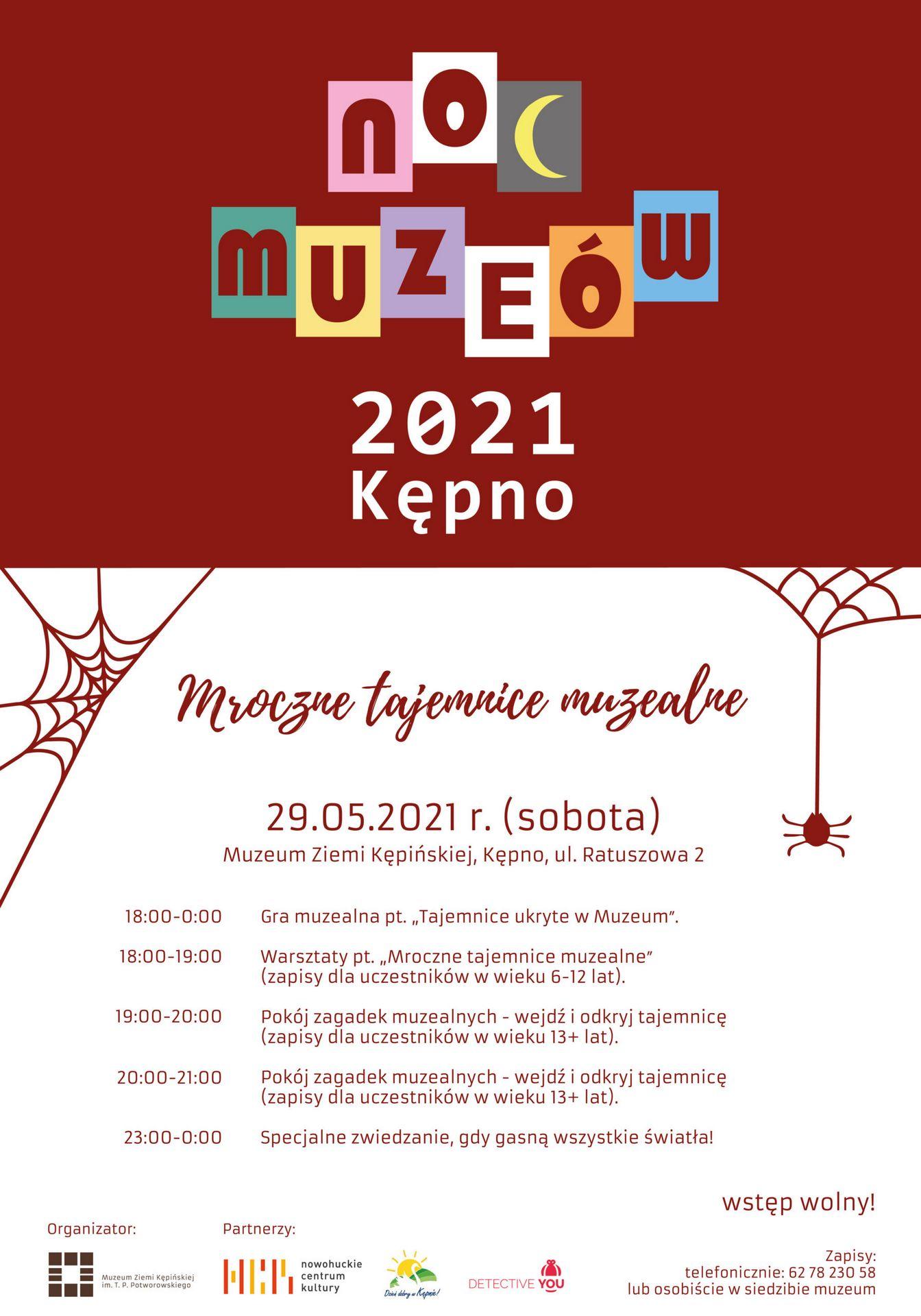 Plakat na Noc Muzeów 2021 Kępno pod hasłem Mroczne tajemnice muzealne 29 maja 2021 r. w sobotę