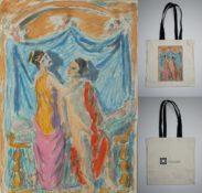 Fotografia z umieszczonymi 3 zdjęciami po lewej stronie obraz T. P. Potworowskiego po prawej torba muzealna