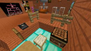 Zrzut ekranu gry komputerowej Minecraft wizualizacja wystawy muzealnej