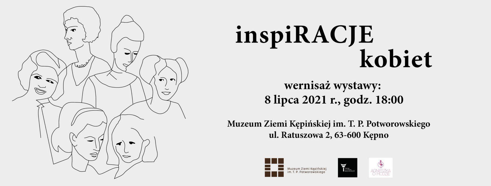 plakat inspiracje kobiet rysunek kobiet i data wernisażu 8 lipca 2021 r.