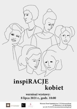 Plakat wystawy czasowej u góry kreską rysowane kontury kobiet na dole tytuł wystawy inspiRACJE kobiet wernisaż wystawy 8 lipca 2021 r. o godz. 18:00 w muzeum w Kępnie