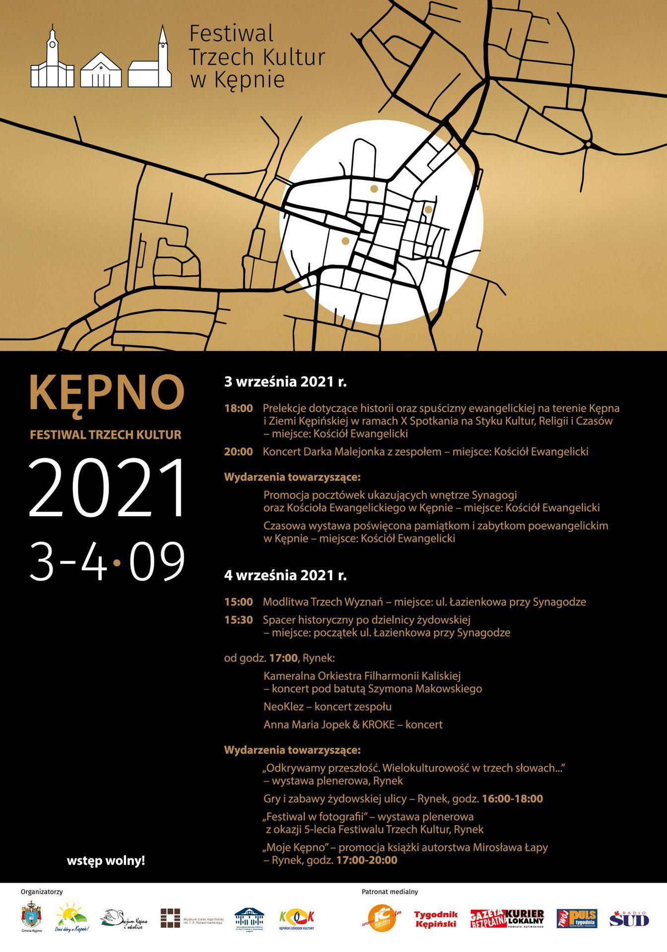 Plakat Festiwalu Trzech Kultur w Kępnie u góry mapa kępna i napisa 3-4 września 2021 Kępno
