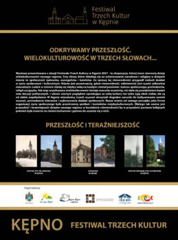 Plakat na Festiwal Trzech Kultur 2021 u góry tytuł wystawy plenerowej Odkrywamy przeszłość. Wielokulturowość w trzech słowach...