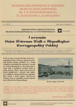 Plakat na jedniodniówkę muzealną z okazji 1 września Dzień Weterana Walk o Niepodległość Rzeczypospolitej Polskiej dostępne od 1 września w siedzibie muzeum