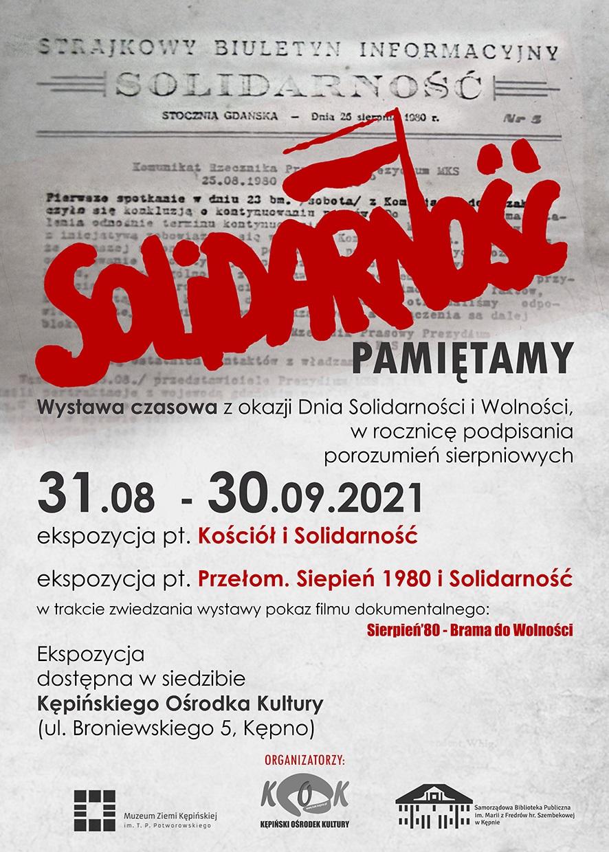 Plakat Solidarność wystawa 31 sierpnia w Kępińskim Ośrodku Kultury