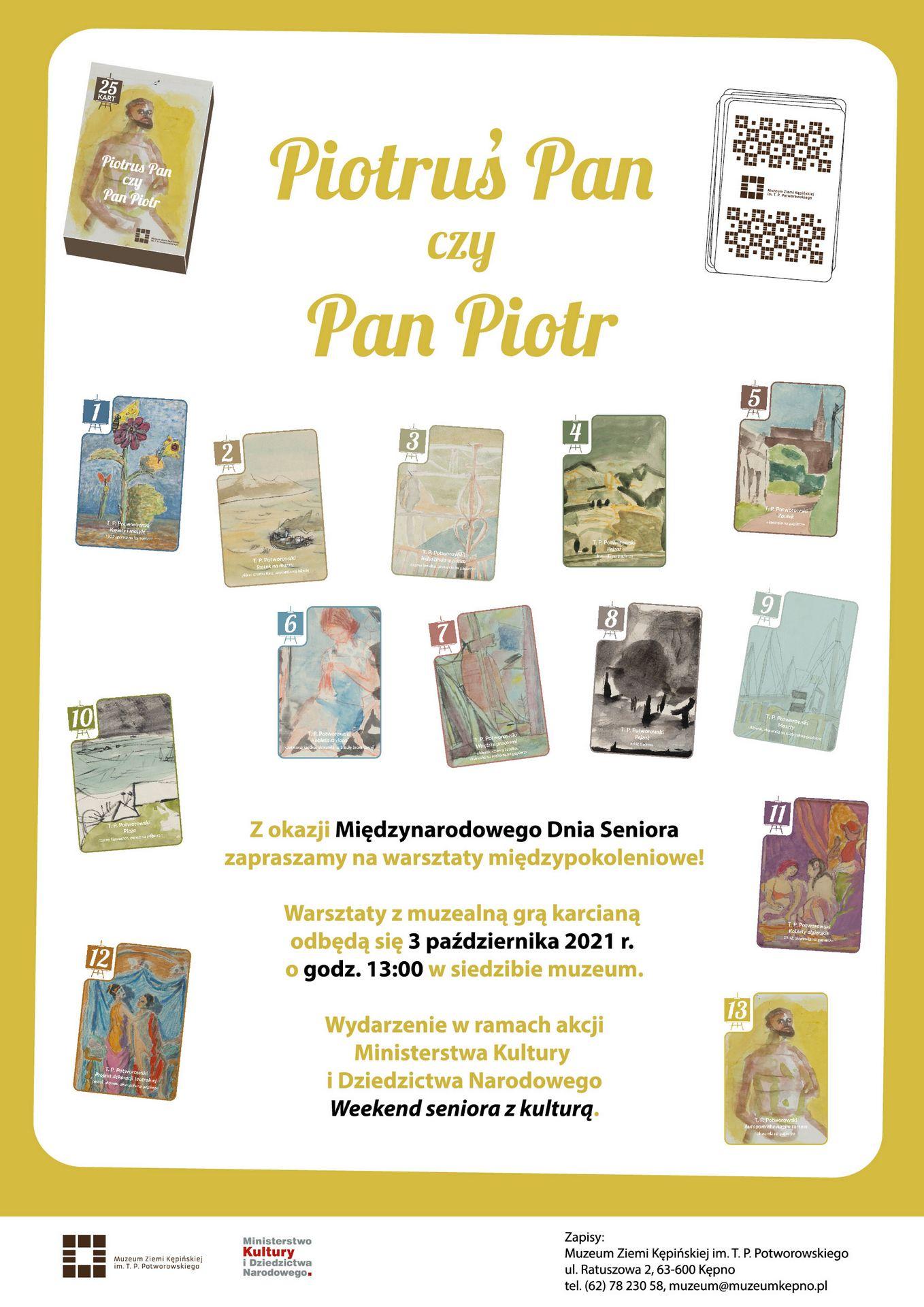 Plakat na wydarzenie Piotruś Pan czy Pan Piotr na plakacie obrazy Tadeusza Piotra Potworowskiego warsztaty odbędą się 3 października o godz. 13:00 w muzeum