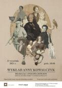 Plakat brakująca połowa dziejów Wykład Anny Kowalczyk 23 września 2021 o godz. 18:00 na środku kolaż ze zdjęc kobiecych