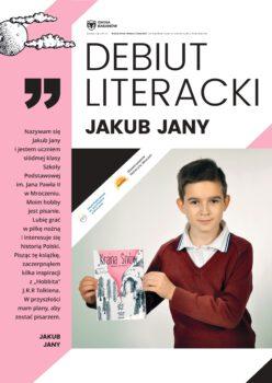 Plakat do promocji książki Jakbua Jany sam autor na okładce trzymający swoją książkę